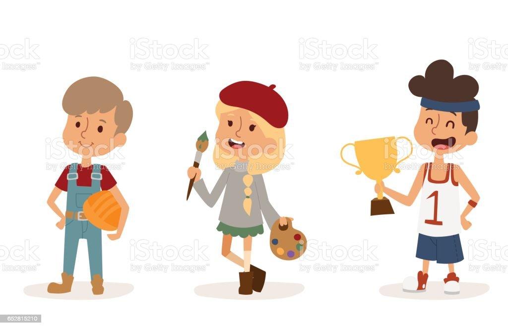 vecteur de dessin animé profession enfants enfants mis illustration personne enfance peintre sportif constructeur artiste travailleur uniforme caractère - Illustration vectorielle