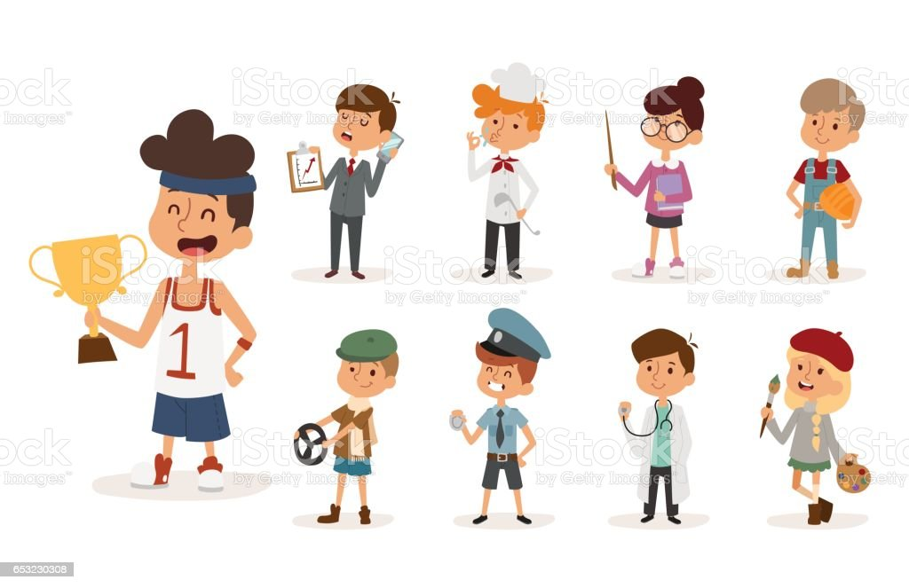 cartoon profession kids children vector set illustration person childhood painter sportsman chef builder policeman doctor artist driver businessman vector art illustration