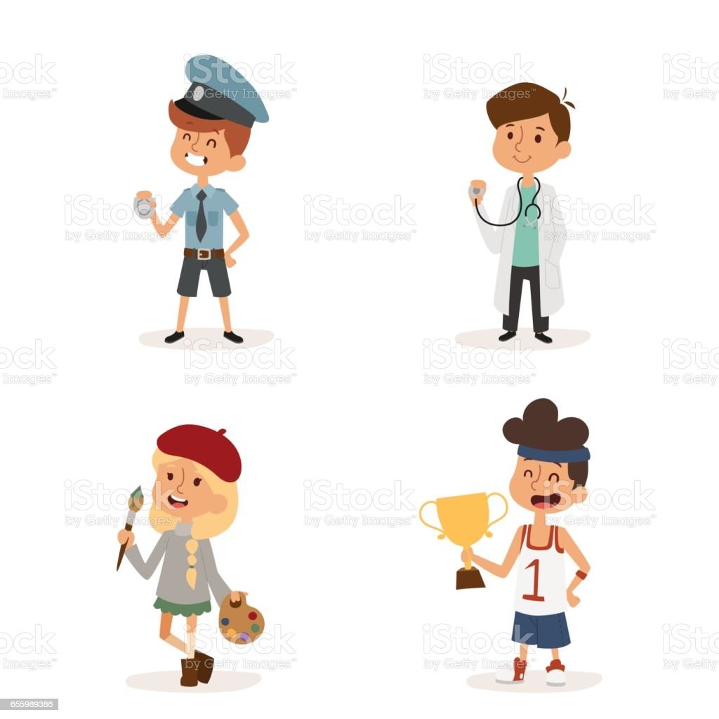 cartoon profession kids children vector set illustration person childhood painter sportsman builder policeman doctor artist uniform worker character vector art illustration