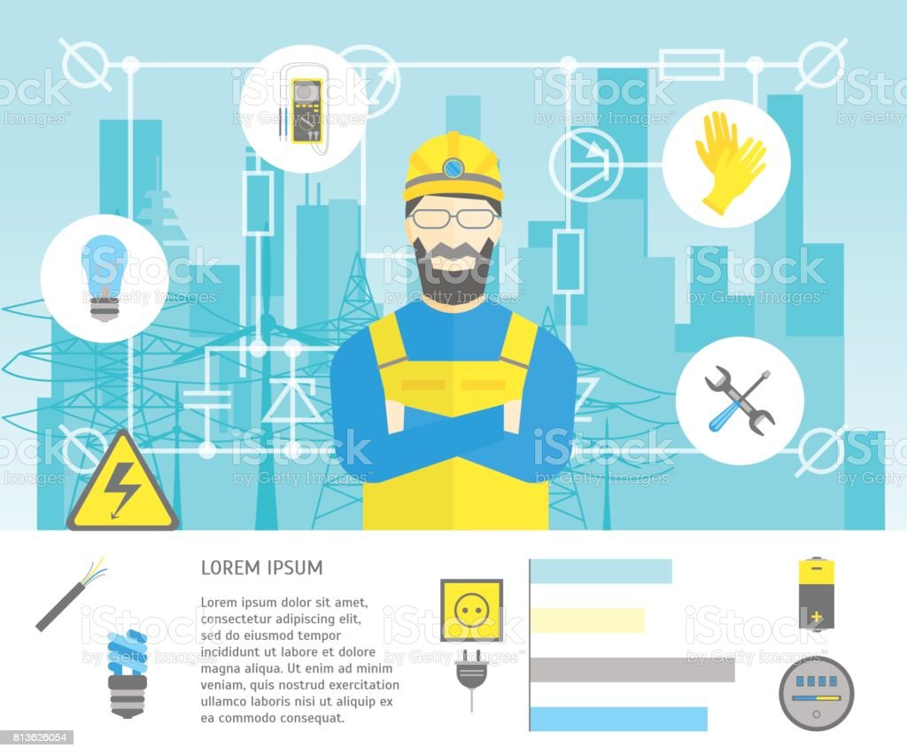 Cartoon Professional Electrician Worker Man and Electric Service Card . Vector vector art illustration