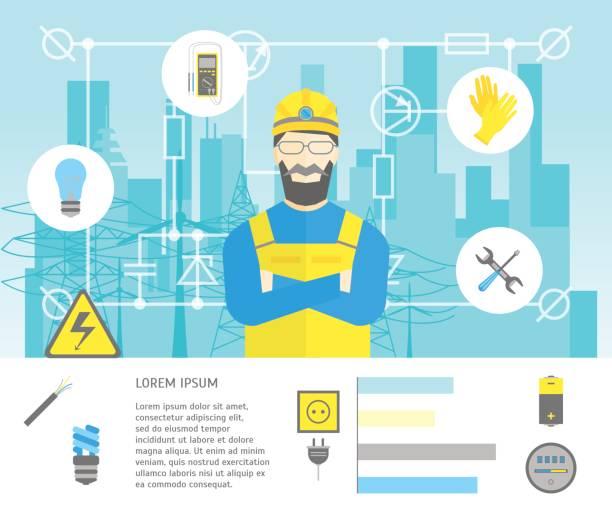 Dibujos animados electricista trabajador hombre y tarjeta de servicio eléctrico. Vector de - ilustración de arte vectorial