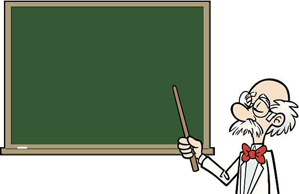Cartoon Professor At Blackboard vector art illustration
