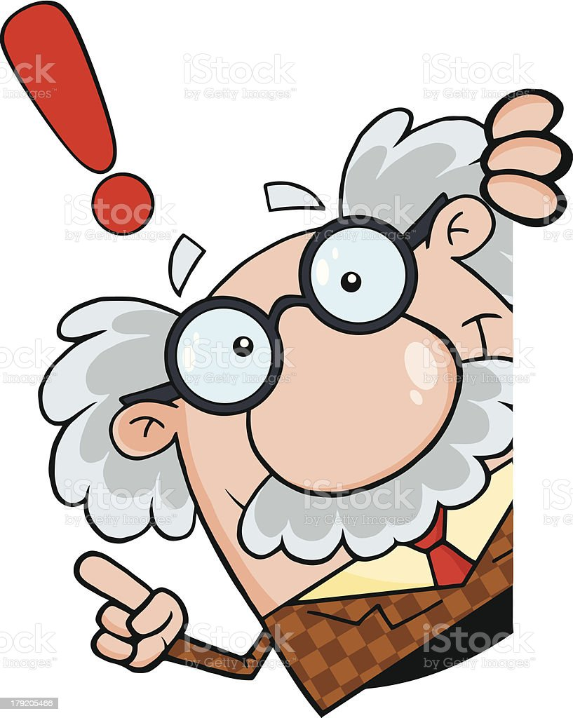 Cartoon Professor Looking Around A Blank Sign With Advice vector art illustration