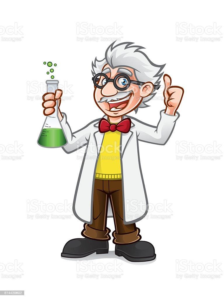 Cartoon Professor Thumb Up vector art illustration