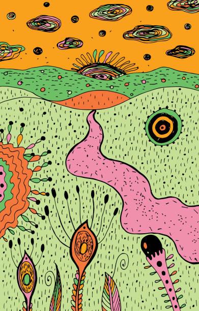cartoon psychedelische landschaft-bunte hippie-kunst. fantastische grafikskizzenkunst. vektorabbildung - landscape crazy stock-grafiken, -clipart, -cartoons und -symbole