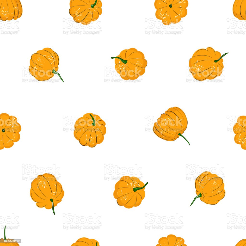 Cartoon Pumpkins Seamless Pattern Pumpkin From Different Sides Background For Fall Wallpaper Fabric Greeting Cards Invitation On White Background Stock Illustration Download Image Now Istock
