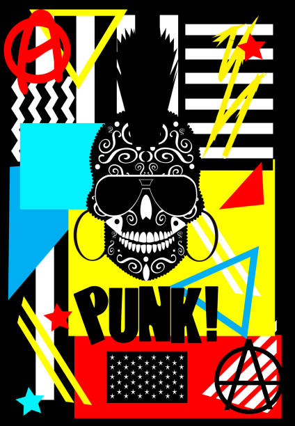 Cartoon punk skull with sunglasses and  Anarchy symbol , ornament details and colorful background Cartoon punk skull with sunglasses and  Anarchy symbol , ornament details and colorful background anarchy symbol stock illustrations