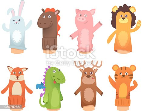 Cartoon puppets. Dolls from socks on hands and fingers puppet toys for kids vector funny characters. Illustration of lion and dinosaur, fox and tiger puppet toys