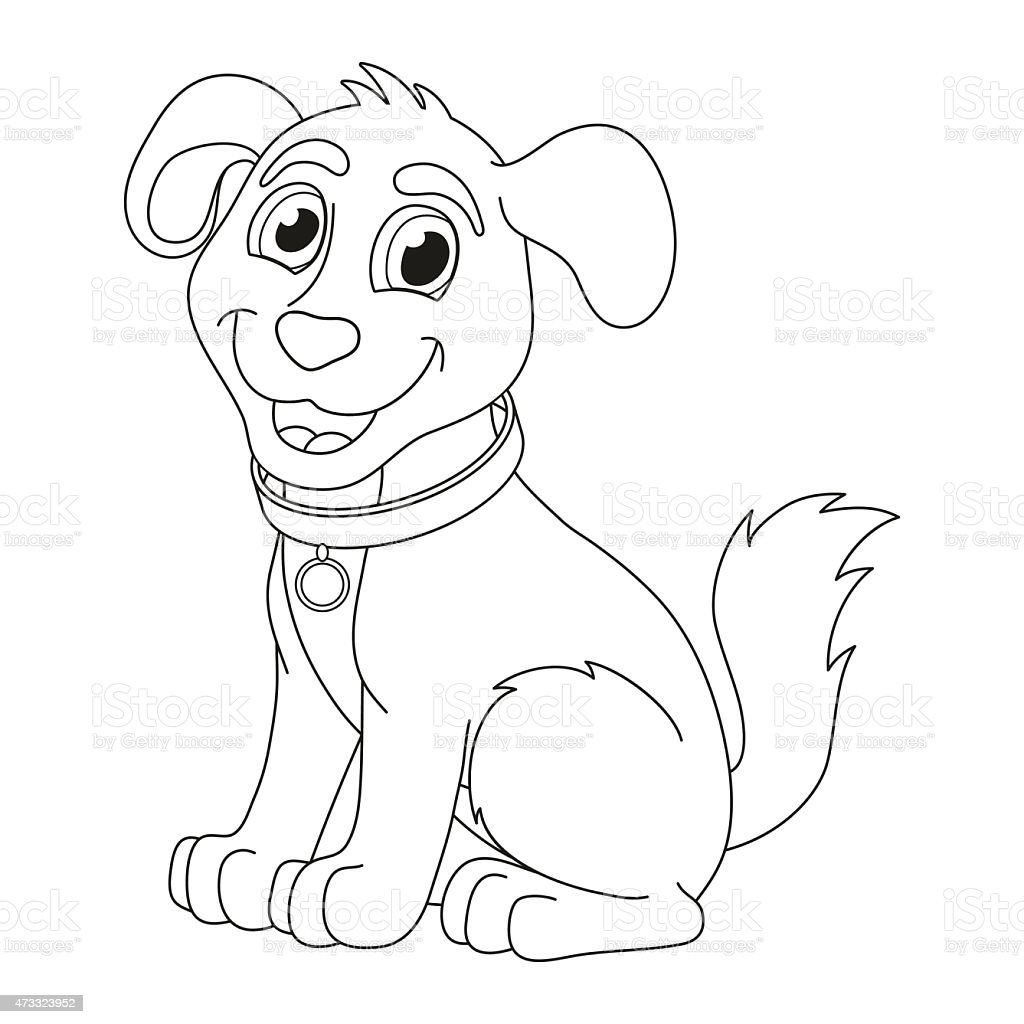 Cartoon Puppy Coloring Book Page For Children Stock Illustration - Download  Image Now - IStock