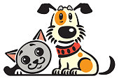 cartoon puppy dog and cat .Vector logo, icon , emblem