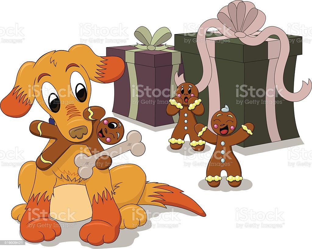 Cartoon Puppy Dog Plays with Gingerbread Men vector art illustration