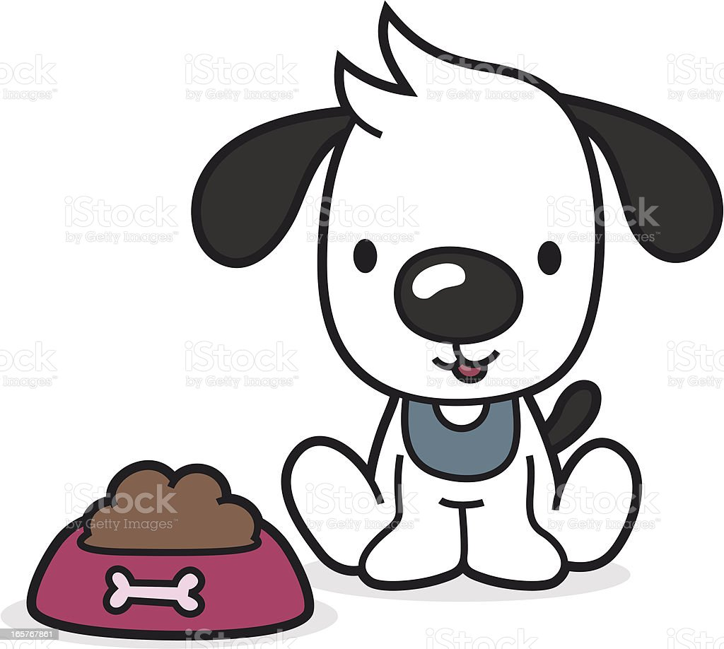 cartoon puppy with full bowl / animal food vector art illustration