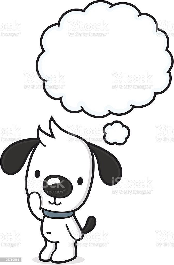 Cartoon puppy with thinking bubble / dreaming of something royalty-free cartoon puppy with thinking bubble dreaming of something stock vector art & more images of animal