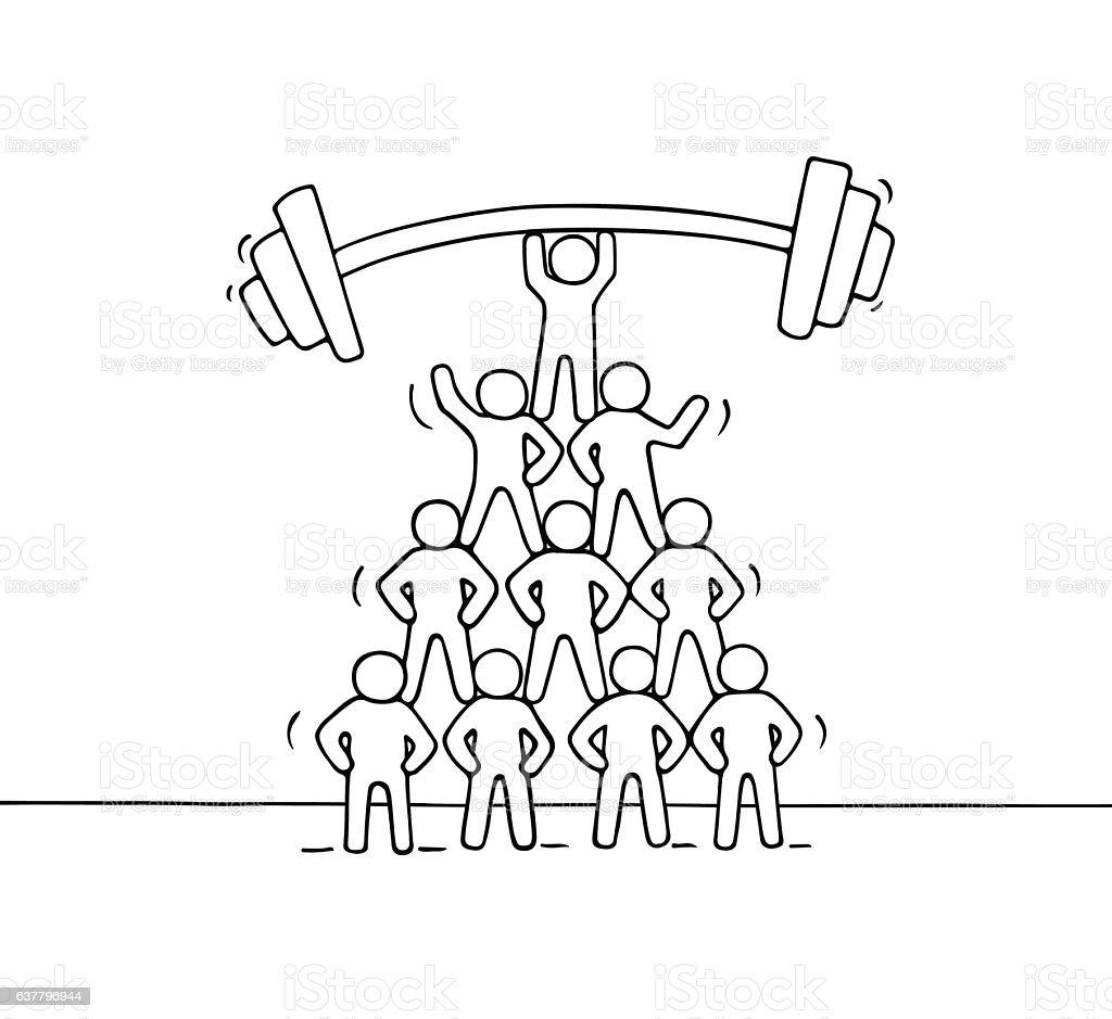 Cartoon pyramid of working little people. - Illustration vectorielle