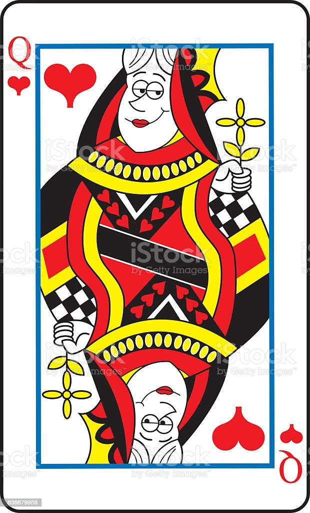 Cartoon Queeen of hearts playing card. vector art illustration