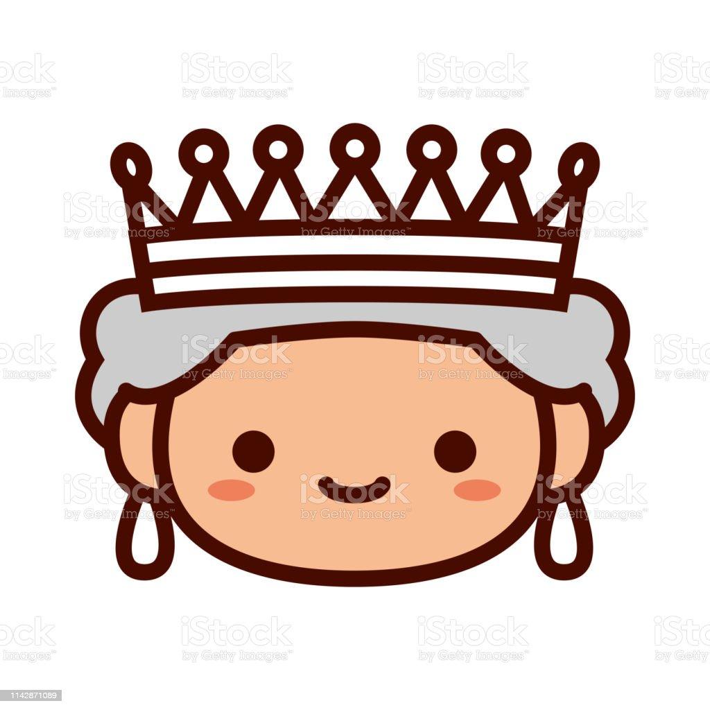 Graphisme De Reine De Dessin Animé Emoji Isolé Vecteurs