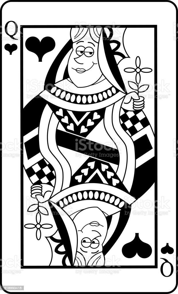 Ilustración de Dibujos Animados De Reina De Naipes De Corazones y ...