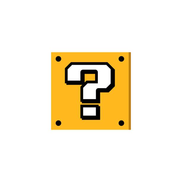 cartoon question box. game. vector icon. - тайна stock illustrations