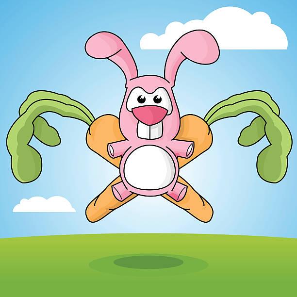 Cartoon Rabbit and Carrots Emblem vector art illustration