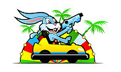Cheerful rabbit with blaster and golf clubs riding in bumper car on amusement park background with palm trees