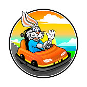 Cartoon bunny in sport bumper car on sunset background. Cheerful rabbit racer character.