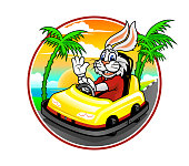 Cartoon bunny in sport bumper car on background of sunset with sea and palms. Cheerful rabbit racer character emblem.