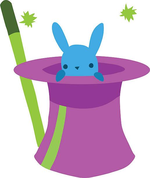 Cartoon rabbit in hat flat mascot icon. vector art illustration