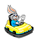 Cartoon bunny rides in sport mini car, cheerfully waving his hand and smiling