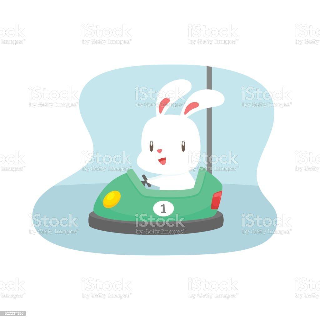 çarpışan Araba Vektör çizim Karikatür Tavşanı Stok Vektör Sanatı