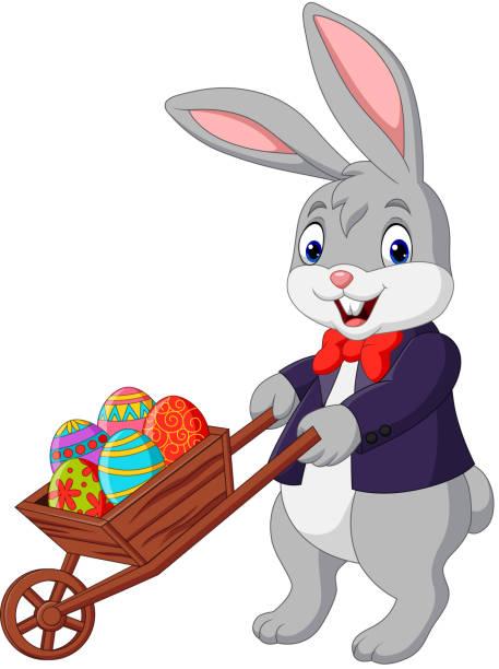Lapin de dessin animé poussant le chariot plein des oeufs de Pâques - Illustration vectorielle