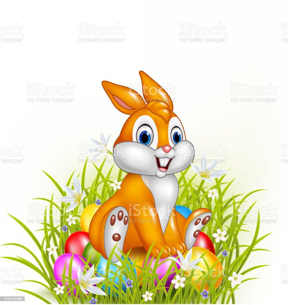 cartoon rabbit sitting on easter eggs stock vector art 513443464