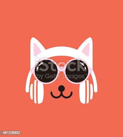 Cartoon Rabbit wearing a Cat' s headsett and glasses, enjoy the music,vector