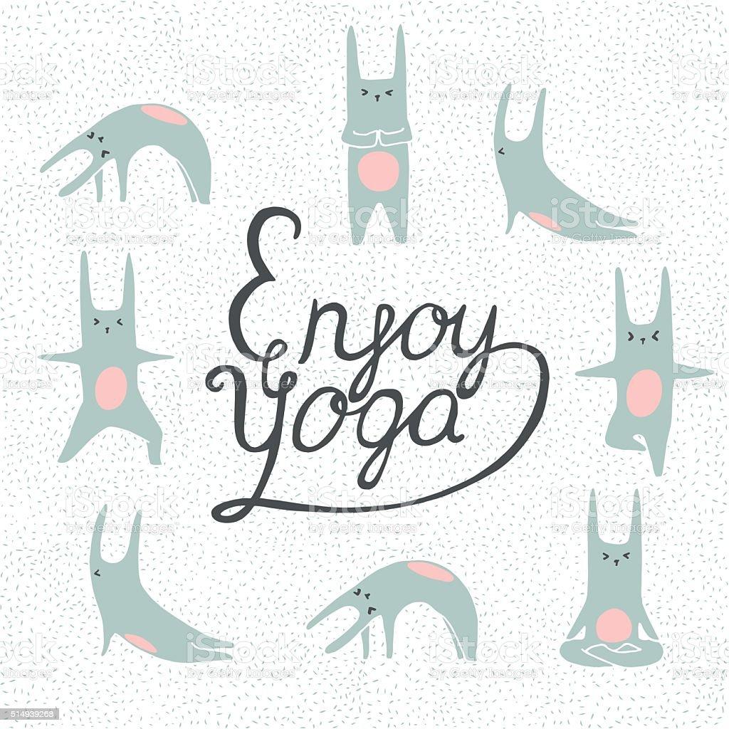 Dessin Lapins Faire Des Postures De Yoga Cliparts Vectoriels Et