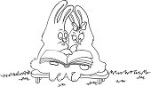cartoon rabbits read a book, contour vector illustration