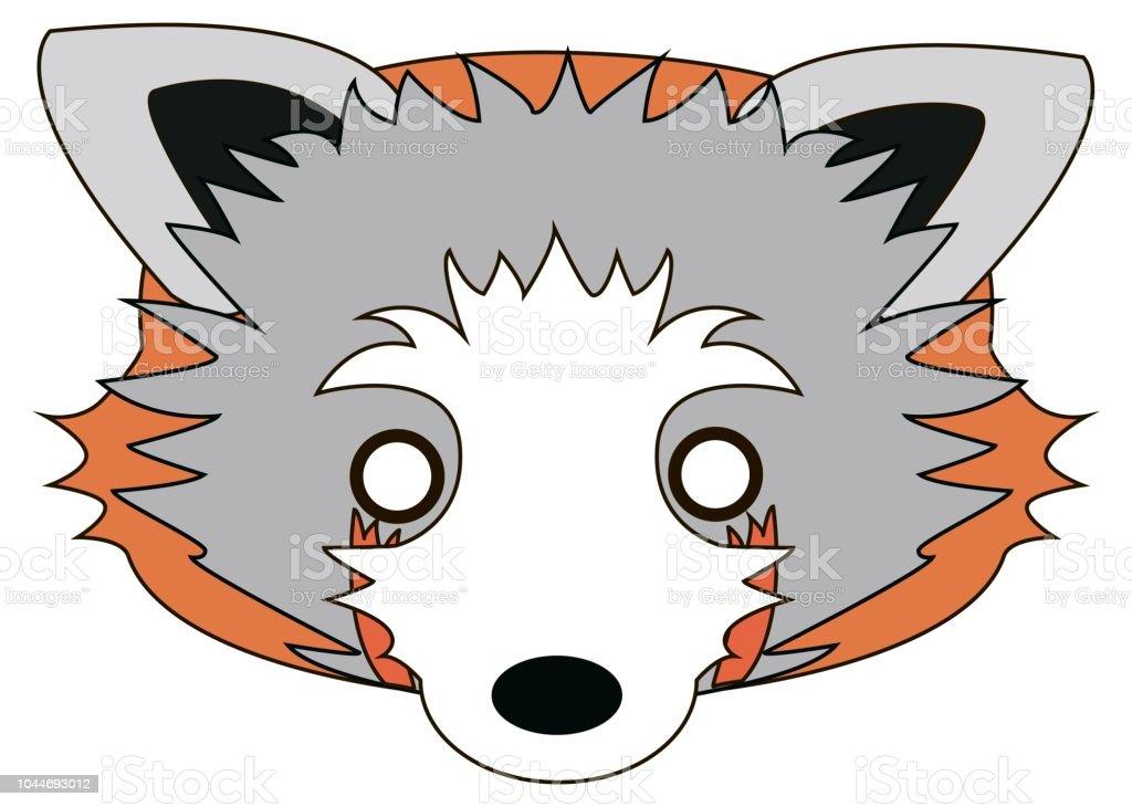 Cartoon Raccoon Mask For Children Masquerade Vector Mask