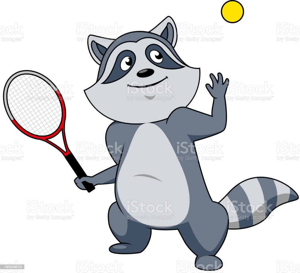 Cartoon raccoon tennis player character vector art illustration