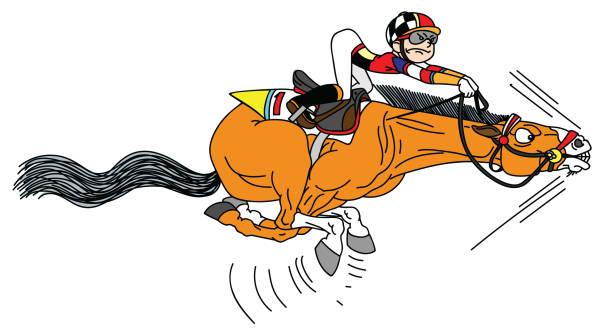 stockillustraties, clipart, cartoons en iconen met cartoon racepaard met jockey - karikatuur