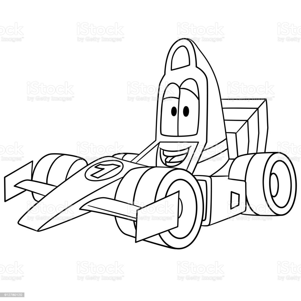 Cartoon Racing Car Coloring Page Stock Illustration Download