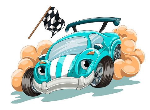 Cartoon racing car rushes along the track
