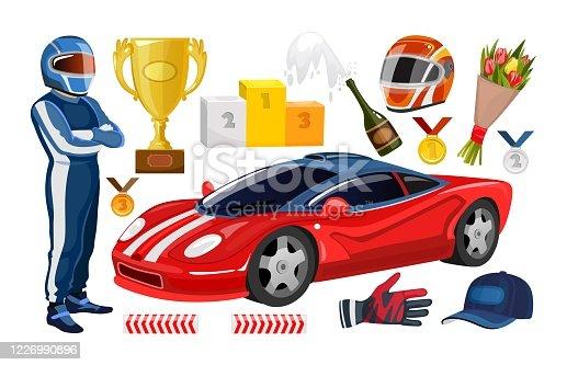 Cartoon racing elements collection. Winner cup, racing helmet, gloves, racer man, trophy medals, sport car. Vector racing set.