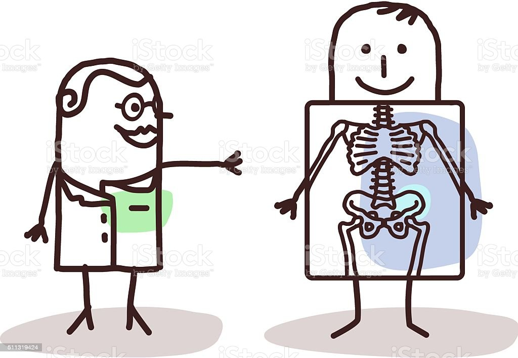 cartoon radiologist with patient vector art illustration