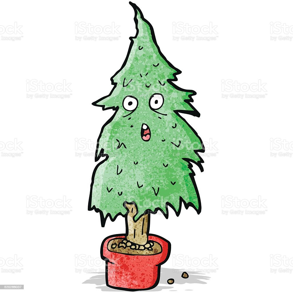 Cartoon Ragged Old Christmas Tree Stock Vector Art & More Images of ...