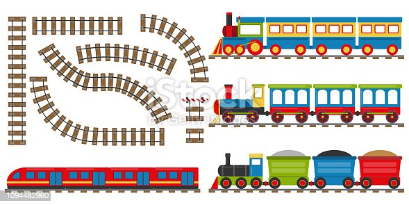 Cartoon railway and train. Set of cartoon trains. Vector illustration.