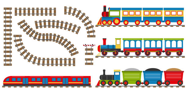 stockillustraties, clipart, cartoons en iconen met cartoon spoor en trein. set cartoon treinen. vectorillustratie. - trein