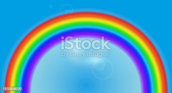 istock Cartoon rainbow on a blue sky. Seven colors rainbow. Vector illustration 1310518220