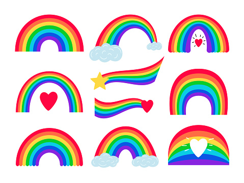 Cartoon rainbow stripes. Vector rainbows with clouds hearts and stars illustration on white