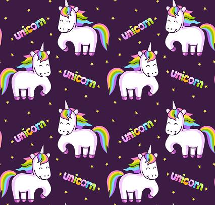 Cartoon rainbow unicorns. Seamless dark pattern for children, babies, kids.