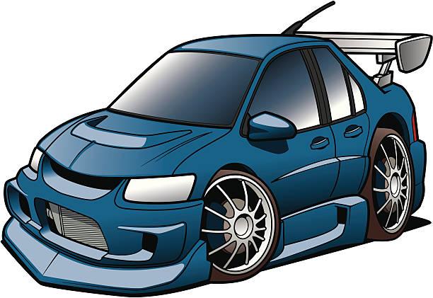 Cartoon Rally Racer vector art illustration