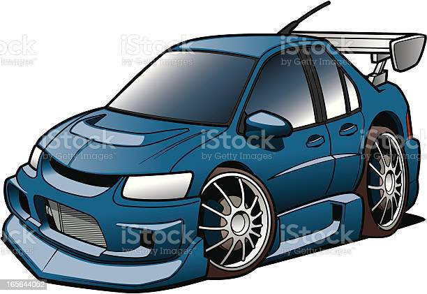 Cartoon Rally Racer Stock Illustration - Download Image Now