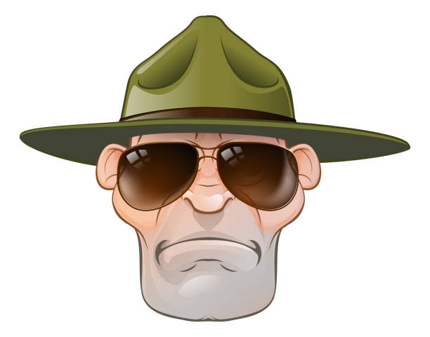 Cartoon Ranger or Drill Sergeant A cartoon angry army boot camp drill sergeant or state trooper or park ranger sergeant stock illustrations